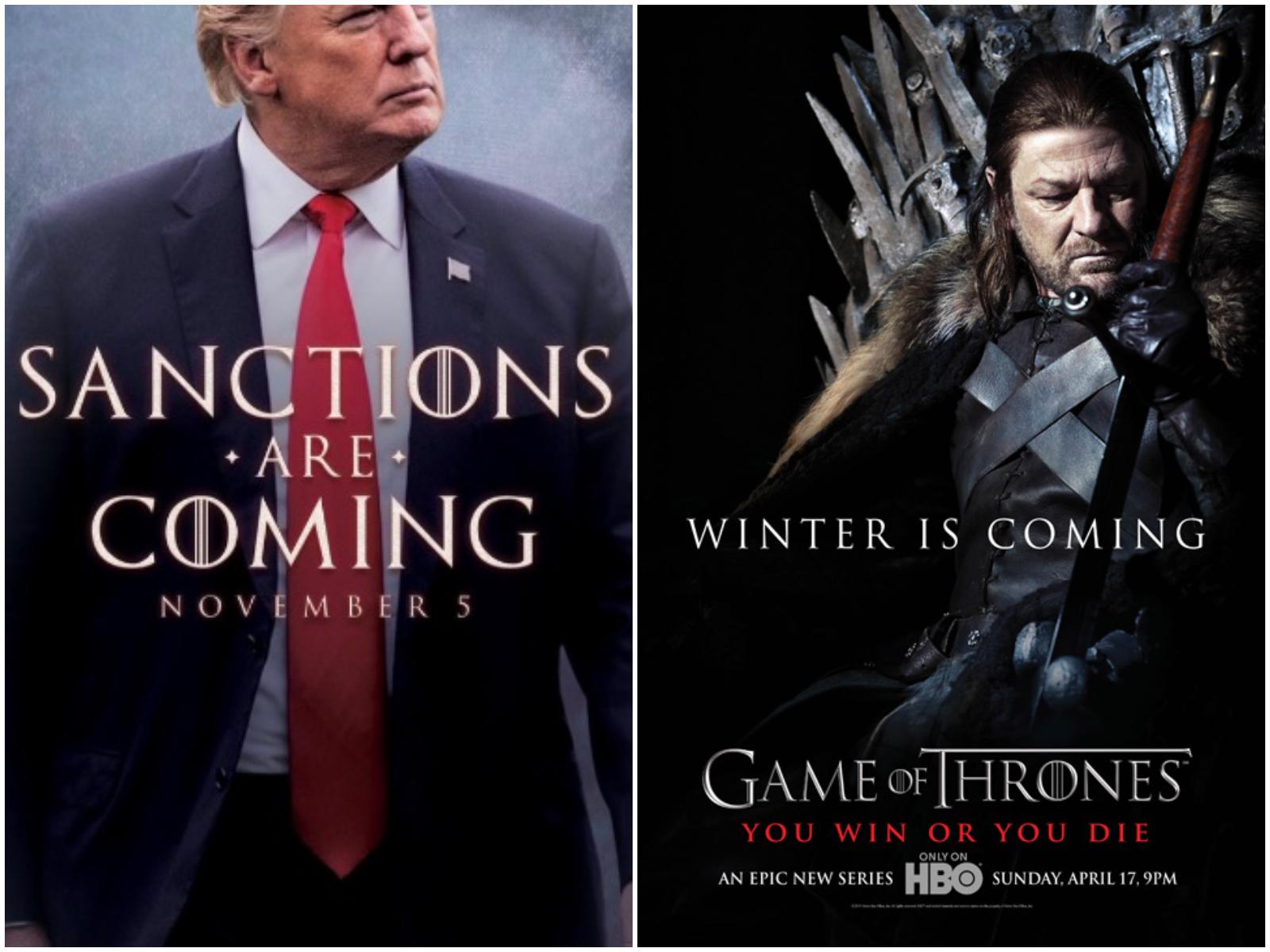 特朗普以《权力游戏》式的宣传海报(左),预告即将恢复对伊朗全面制裁。-图取自网络-