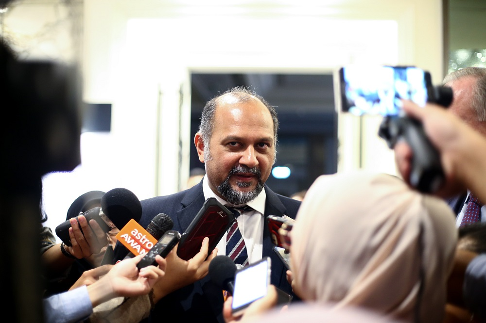 Communications and Multimedia Minister Gobind Singh Deo speaks to reporters in Kuala Lumpur November 13, 2018. — Picture by Ahmad Zamzahuri