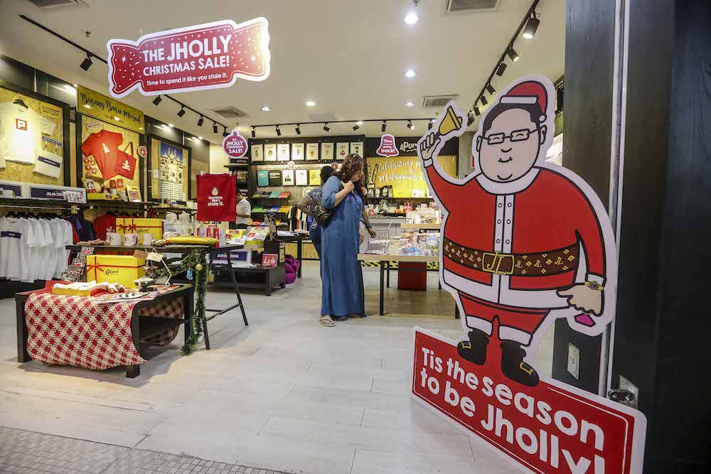 Jholly-themed Christmas merchandise is seen at Apom Store in Bangsar November 18, 2018. — Picture by Firdaus Latif