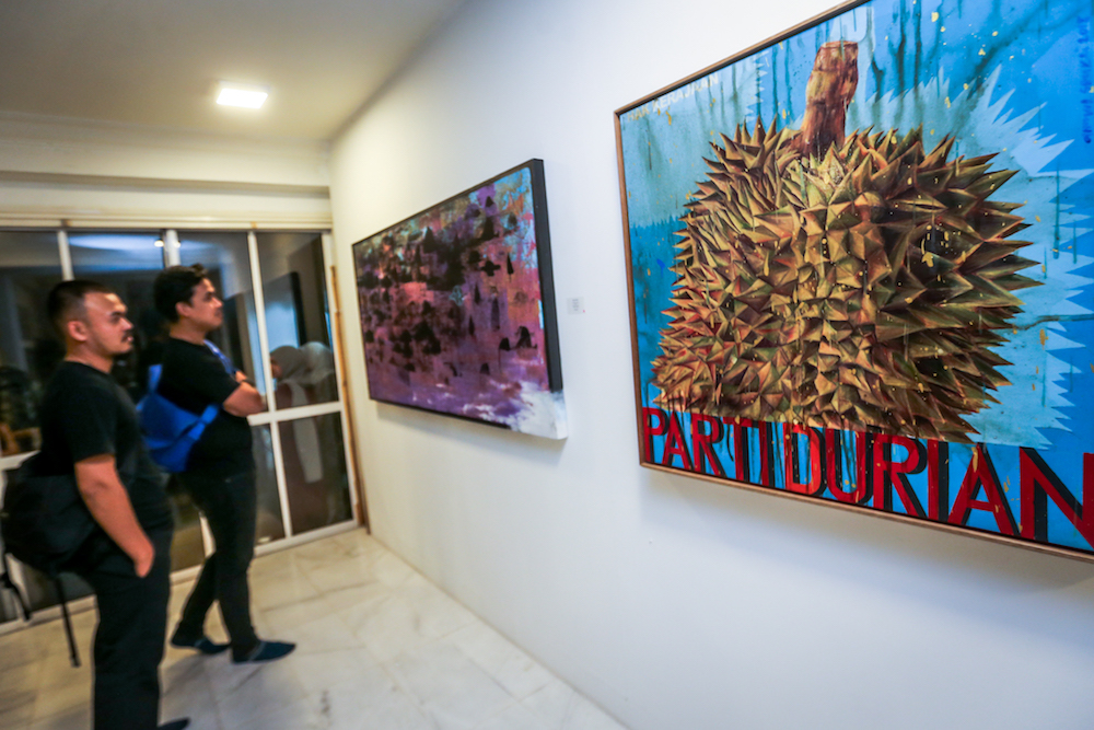 Ahmad Shukri Mohamed's 'Parti Durian' is one of the 44 artworks being exhibited for the fundraiser. — Picture by Hari Anggara