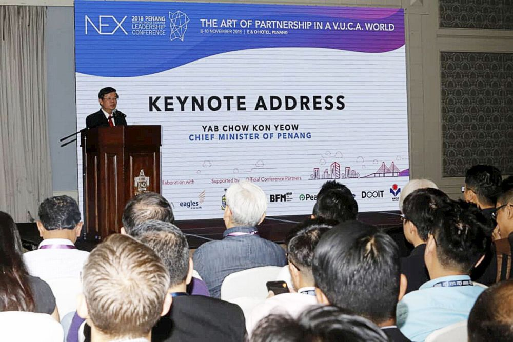 Penang Chief Minister Chow Kon Yeow speaks during the opening of NEX Penang Conference 2018 in George Town November 8, 2018.