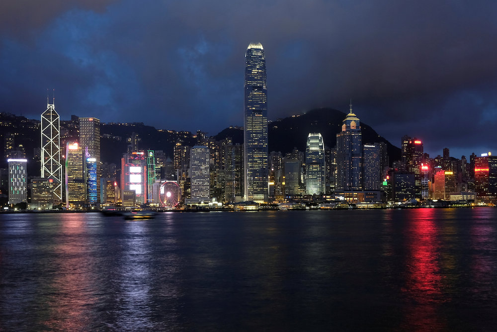 A sunset view of Hong Kong island and Victoria Harbour in Hong Kong. — Reuters pic