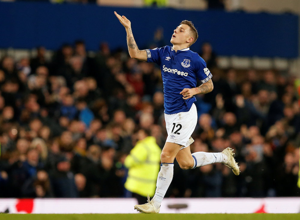 Everton's Lucas Digne celebrates scoring their second goal against Watford during their Premier League match in Liverpool December 10, 2018. — Reuters pic