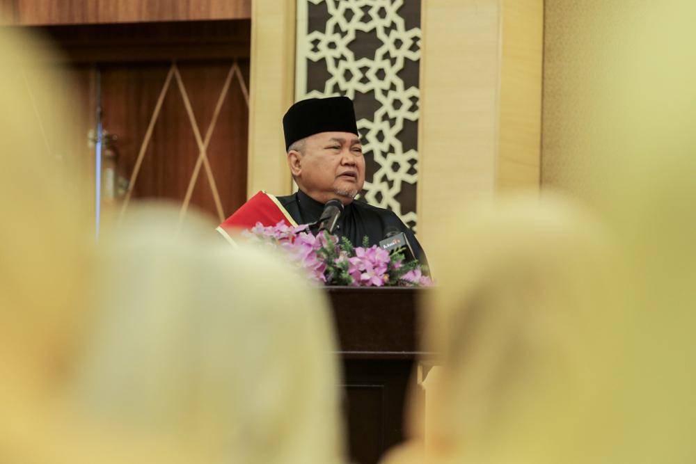 Perkasa president Datuk Ibrahim Ali gives a speech during the 9th Perkasa Annual General Assembly in Kuala Lumpur December 2, 2018. — Picture by Hari Anggara