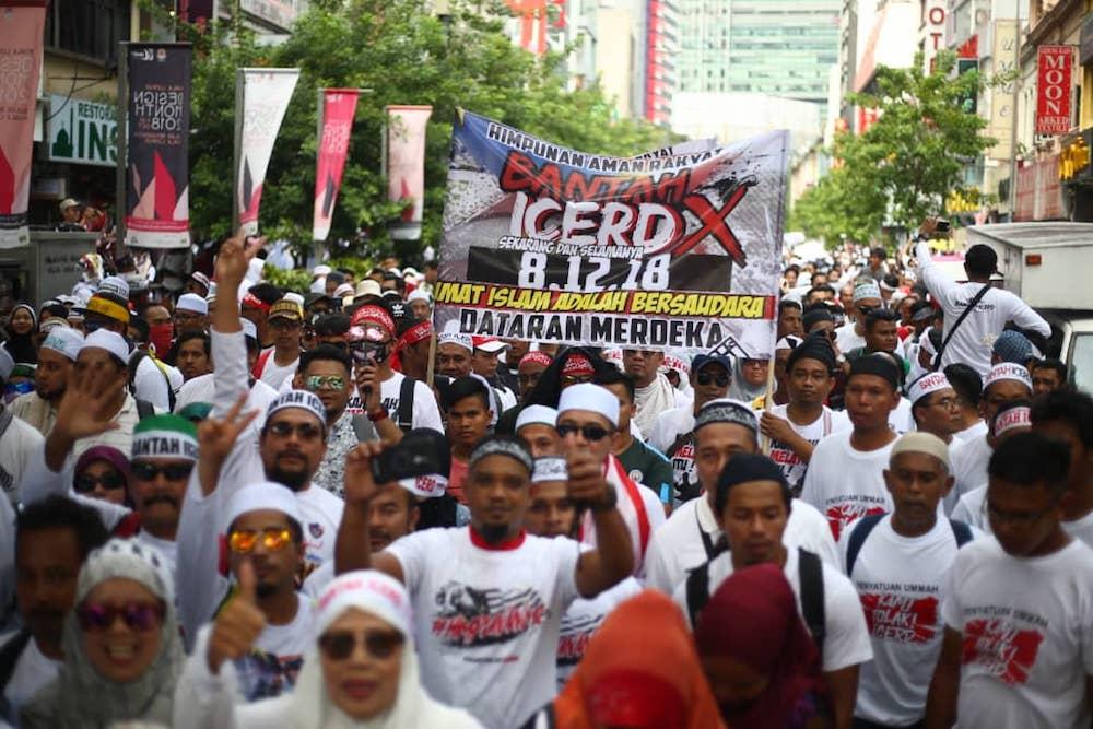 Anti-ICERD rally-goers march from Sogo to Dataran Merdeka in Kuala Lumpur December 8, 2018. — Picture by Ahmad Zamzahuri