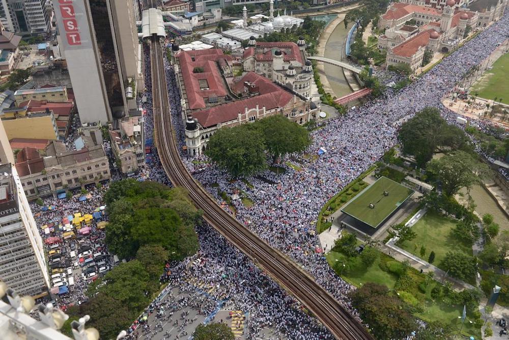 An aerial view of Dataran Merdeka during the anti-ICERD rally in Kuala Lumpur December 8, 2018. — Picture by Mukhriz Hazim