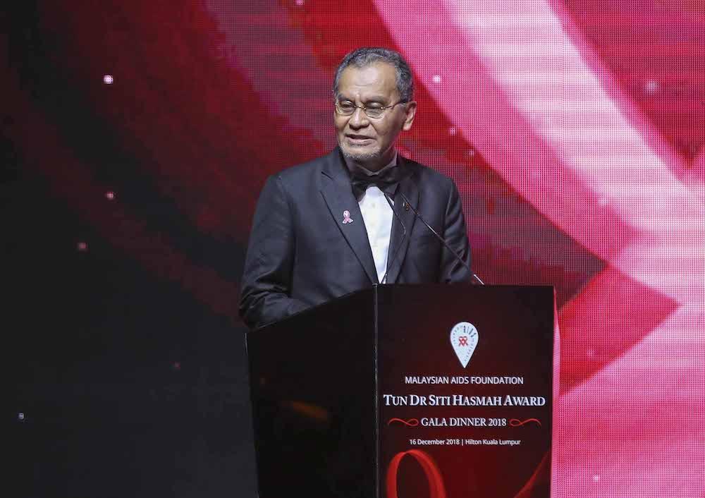 Health Minister Datuk Seri Dzulkefly Ahmad speaks during the Tun Dr Siti Hasmah Award Gala Dinner 2018 at Hilton Kuala Lumpur Hotel December 16, 2018. — Picture by Firdaus Latif