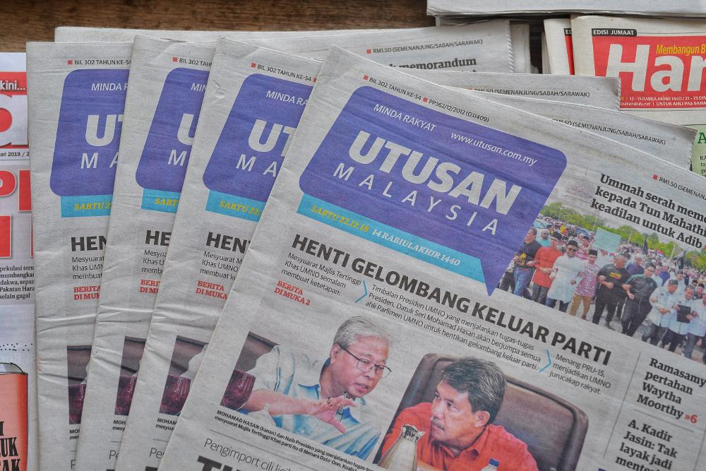 Copies of the Utusan Malaysia newspaper at a stall in Sungai Besi, Kuala Lumpur December 22, 2018. — Picture by Shafwan Zaidon