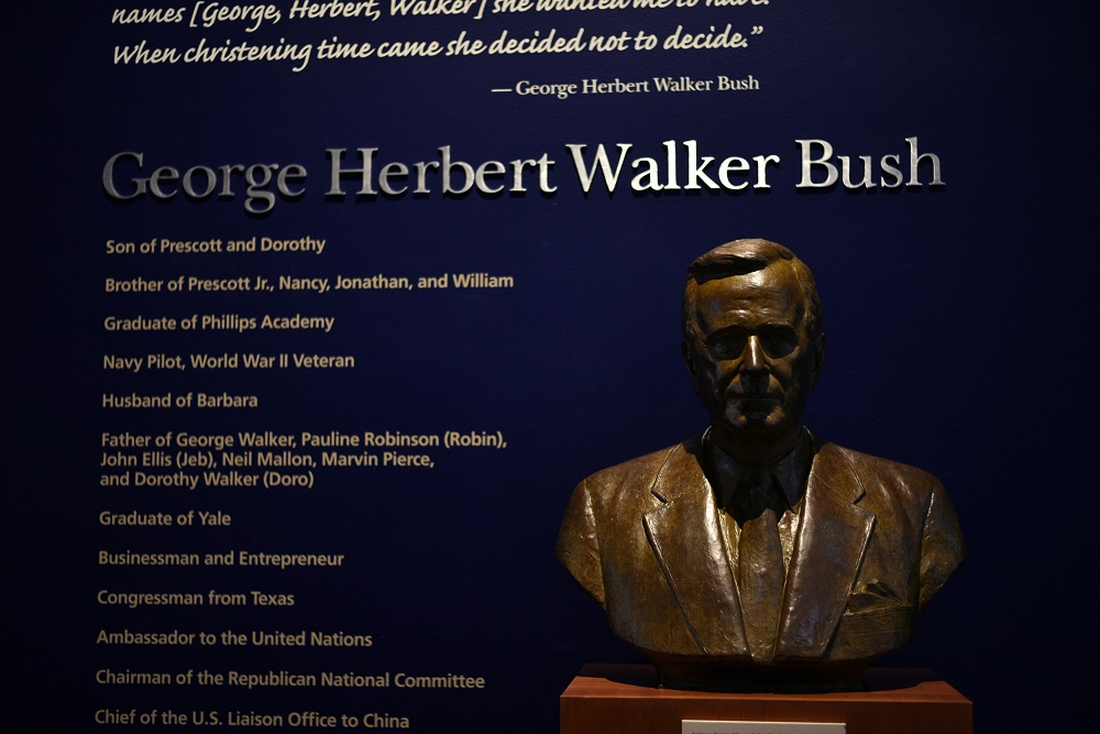 A bust of George H.W. Bush is seen inside the George H.W. Bush Presidential Library and Museum, a day after the 41st President of the United States died, in College Station, Texas, December 1, 2018. — Reuters pic