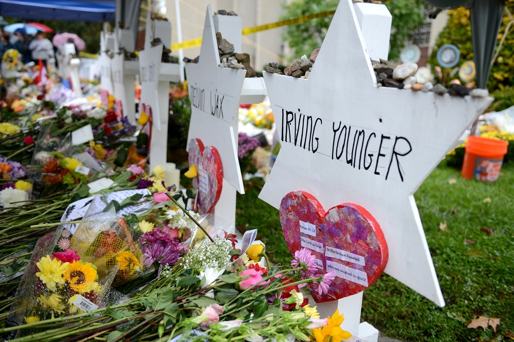 Flowers and other items have been left as memorials outside the Tree of Life synagogue following last Saturday's shooting in Pittsburgh, Pennsylvania, November 3, 2018. — Reuters pic