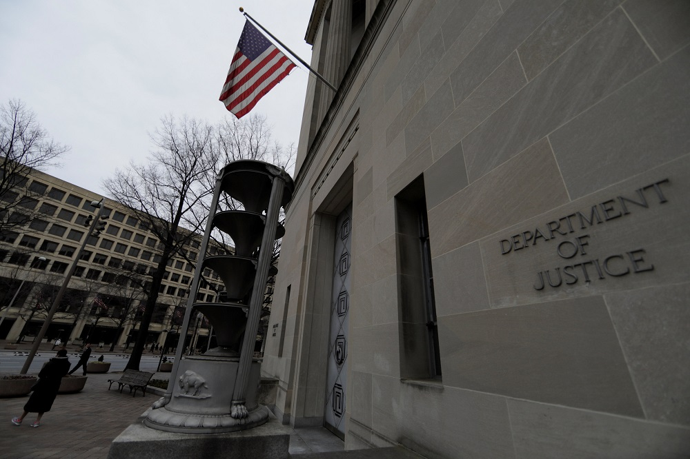 The US Department of Justice building is seen in Washington. The US is cracking down on Chinese spying, with the FBI having interviewed dozens of visa holders about their possible ties to Chinese intelligence. — Reuters pic