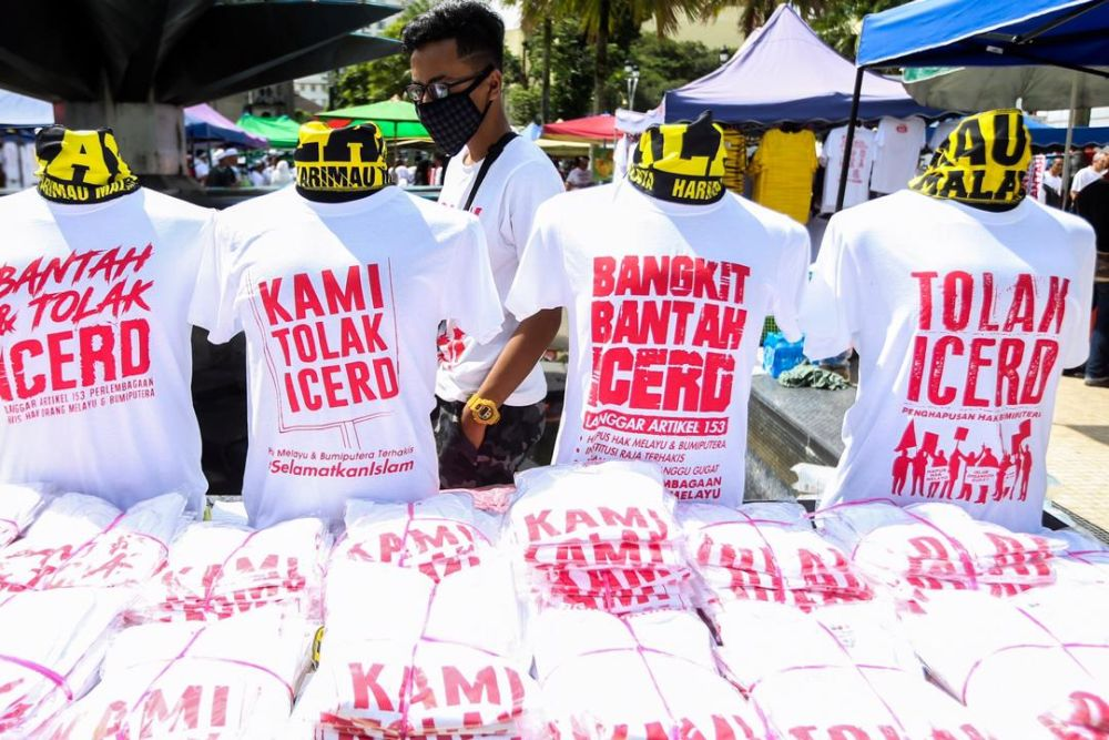 Some of the t-shirts that were sold at the anti-ICERD rally on December 8, 2018. ― Picture by Ahmad Zamzahuri