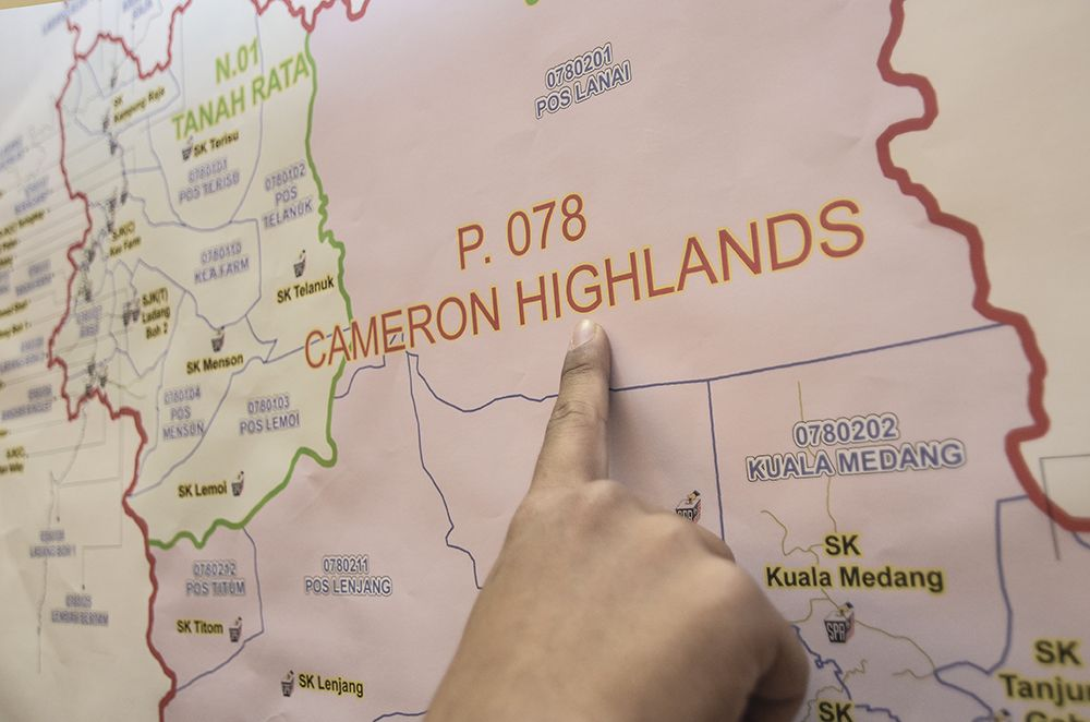 Here's how the parliamentary seat of Cameron Highlands looks like on a map. It's made up of the PH-held Tanah Rata and BN-held Jelai state seats. ― Picture by Miera Zulyana
