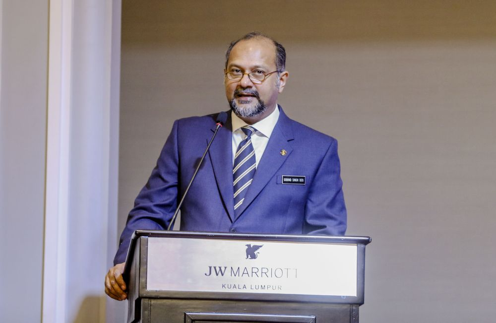 Communications and Multimedia Minister Gobind Singh Deo speaks at the National Cyber-security Strategy Development conference in Kuala Lumpur December 3, 2018. ― Picture by Firdaus Latif