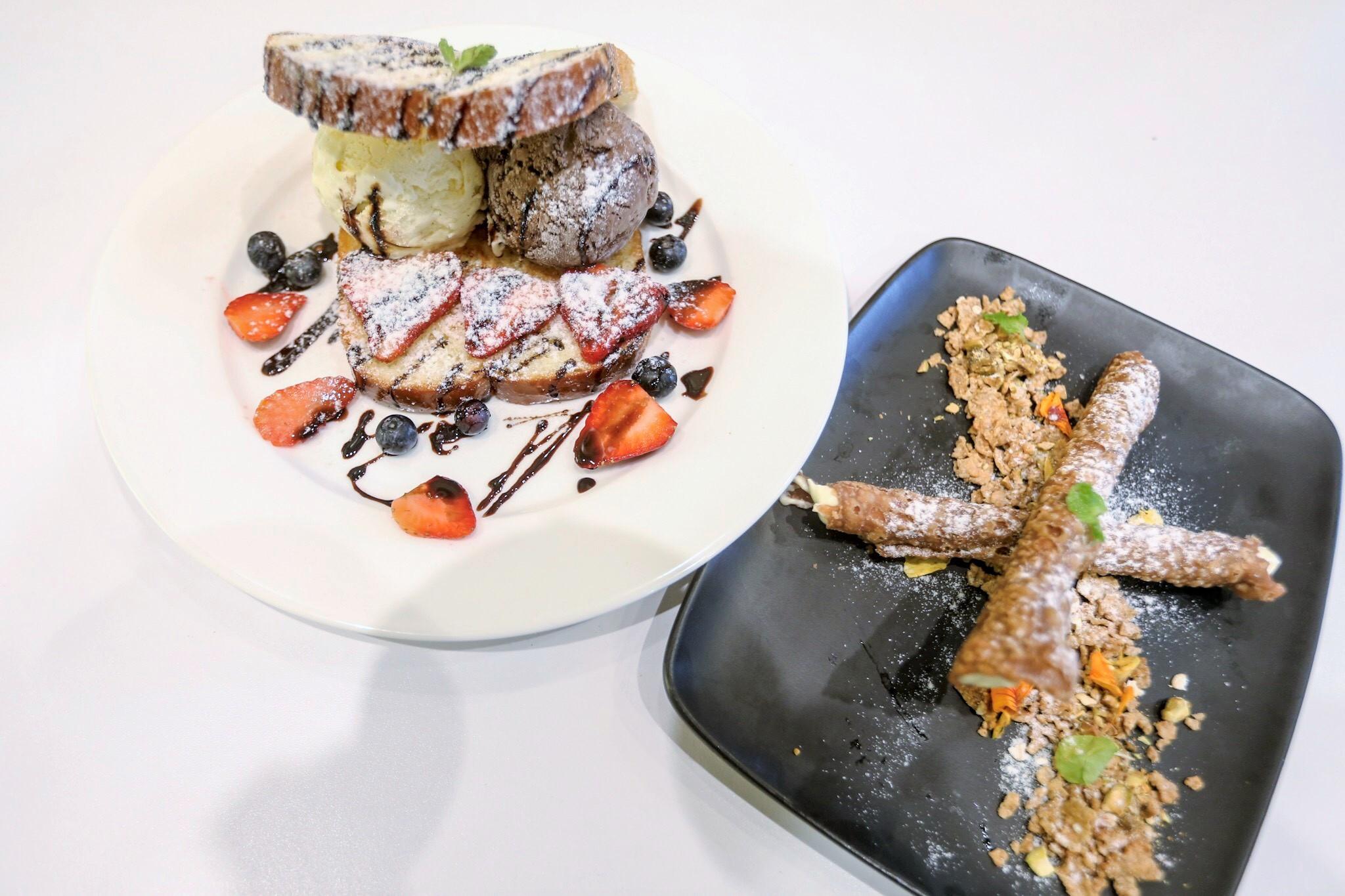 Positano Signature Ice Cream Brioche and Vanilla Cannoli... perfect sweet endings.