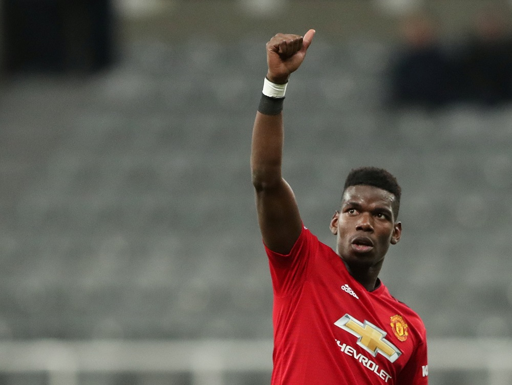 Manchester United's Paul Pogba celebrates at the end of the match at St James' Park in Newcastle January 2, 2019. — Reuters pic
