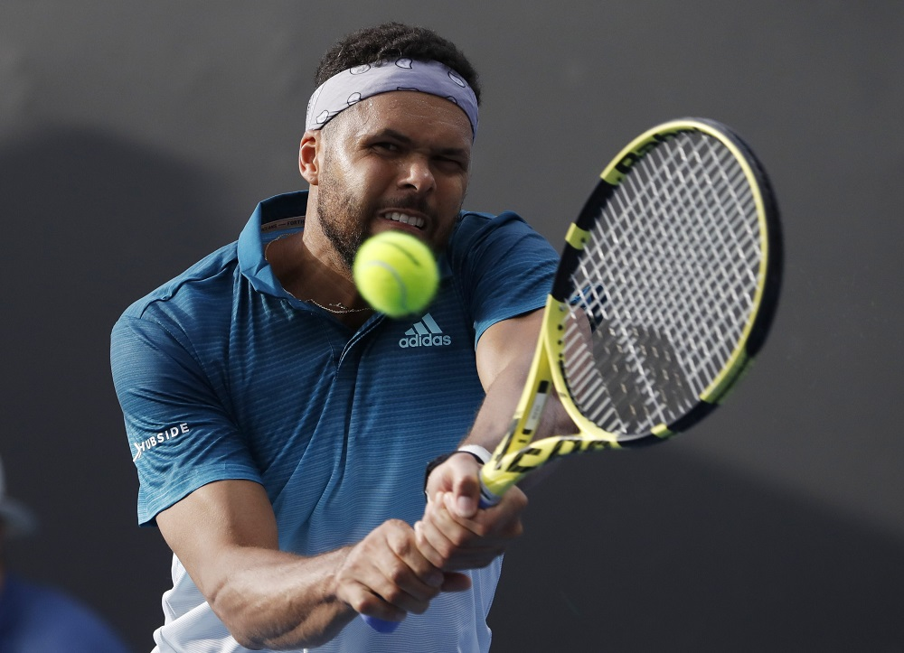 Jo-Wilfried Tsonga in action during the match against Martin Klizan in Melbourne January 15, 2019. — Reuters pic