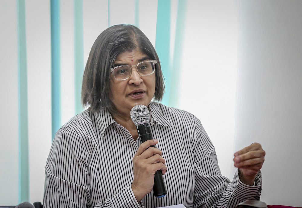 Datuk Ambiga Sreenevasan says there should not be any construction on Taman Rimba Kiara until the MACC completes its investigations on allegations of a conflict of interest presented by the C4. — Picture by Firdaus Latif