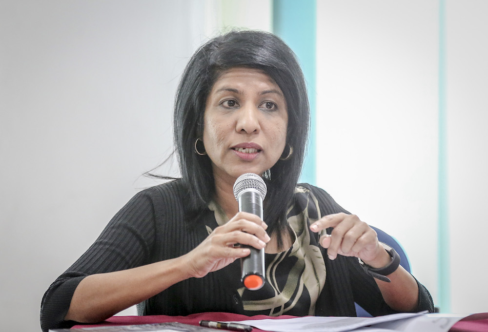 Centre to Combat Corruption and Cronyism director Cynthia Gabriel was quizzed by police over a statement criticising the new government. — Picture by Firdaus Latif