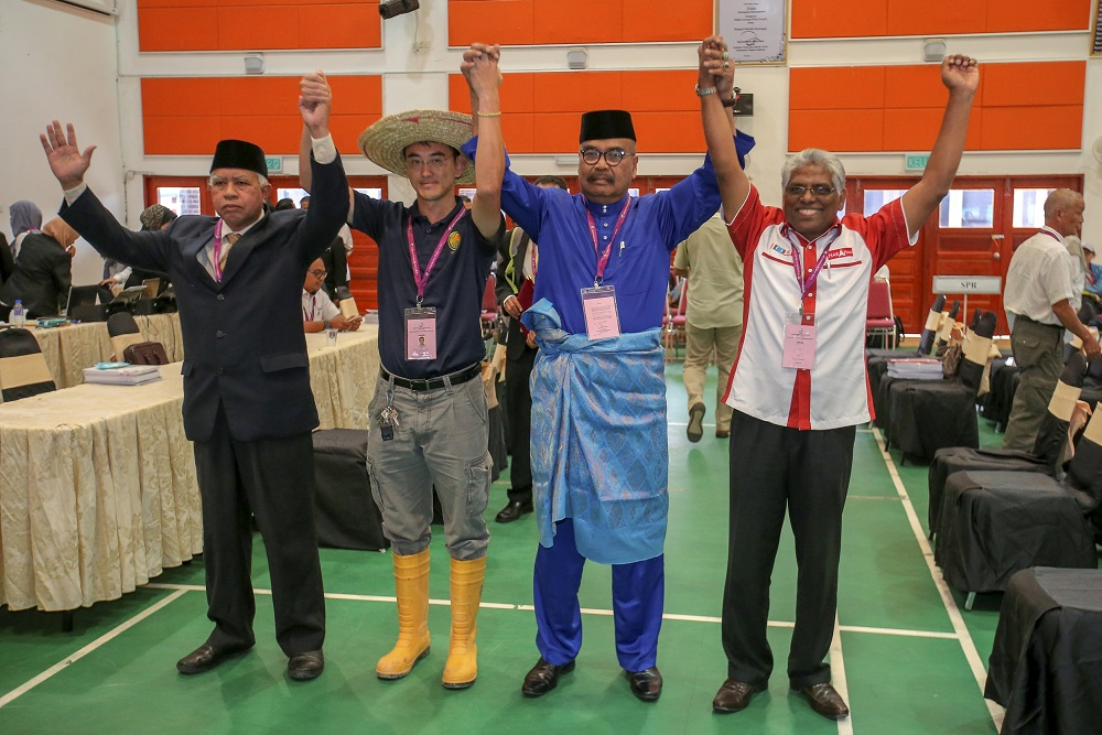 The four by-election candidates (from left) Sallehudin Ab Talib, Wong Seng Yee, Ramli Mohd Noor and M. Manogaran on nominations day on January 12, 2019. Cameron Highlands voters, who do you choose? — Picture by Farhan Najib