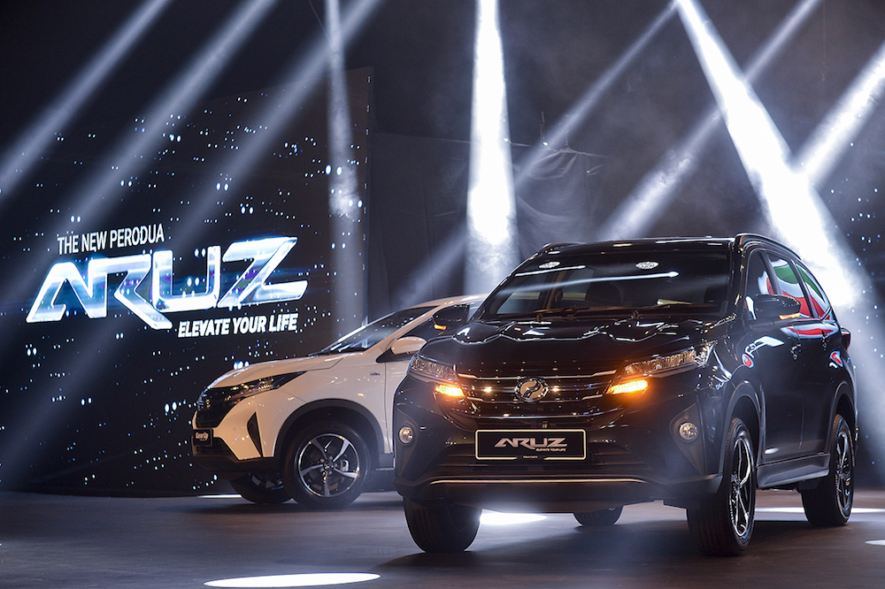 Perodua has officially launched the Aruz in Singapore, its first overseas market. — Picture by Mukhriz Hazim