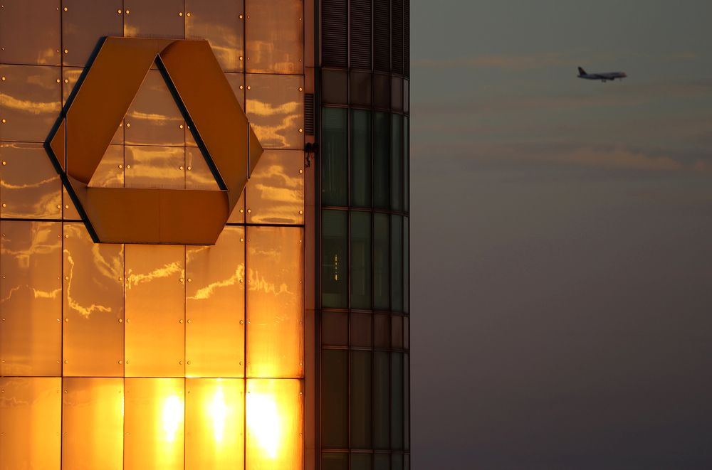 The logo of Germany's Commerzbank is seen in the late evening sun on top of its headquarters in Frankfurt, Germany, September 29, 2016. — Reuters pic
