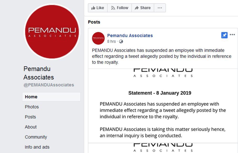 A screenshot of the Facebook page of PEMANDU Associates