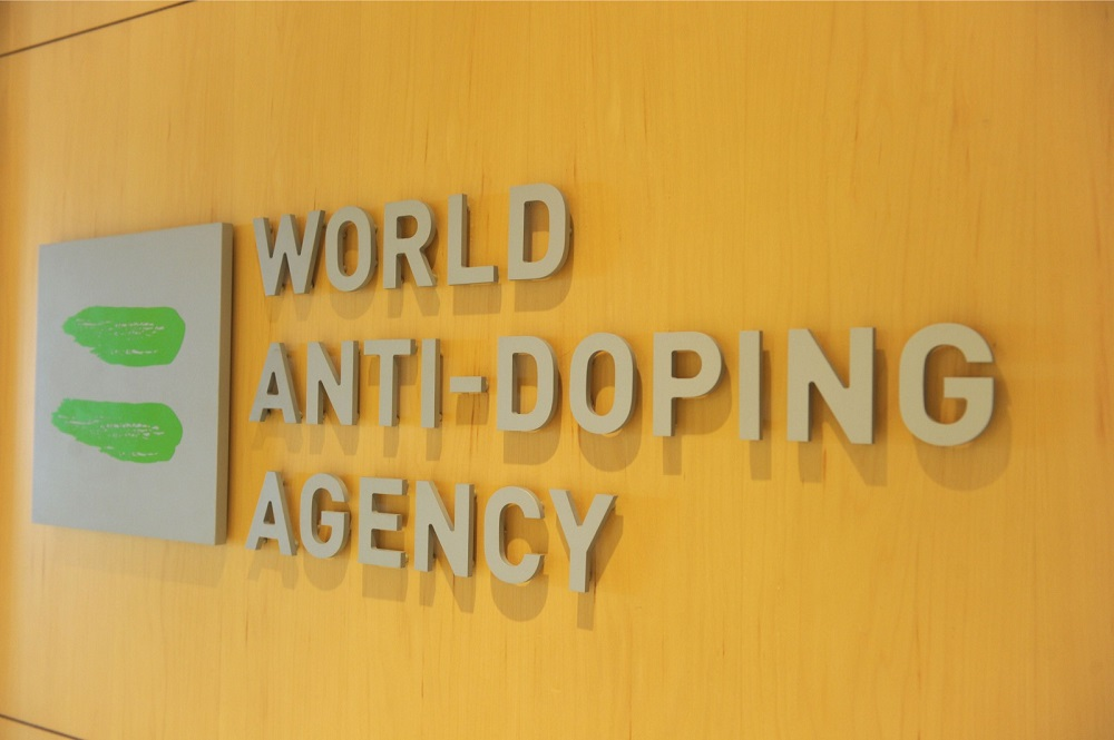 This file photo taken on September 20, 2016, shows the logo of the World Anti-Doping Agency (Wada), at the headquarters of the organisation in Montreal.  — AFP pic