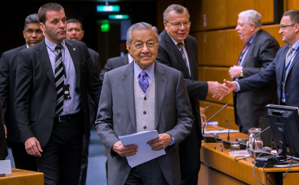 Tun Dr Mahathir Mohamad arrives to deliver his keynote address at the 10th Annual General Assembly of the International Association of Anti-Corruption Authorities (IAACA) in Vienna January 22, 2019. — Bernama pic