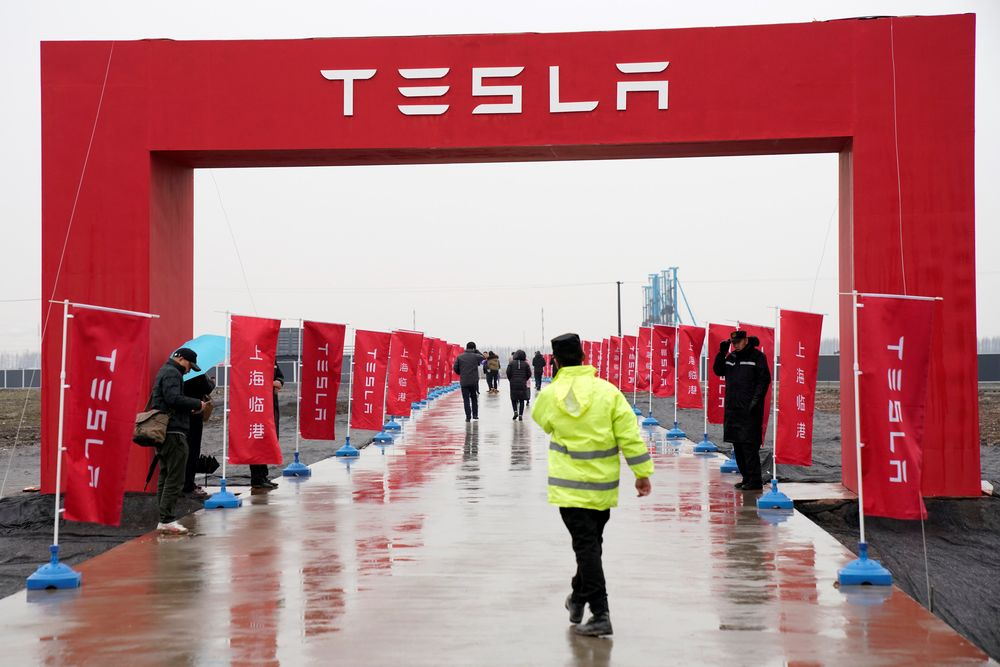 A Tesla logo is seen at a groundbreaking ceremony of Tesla Shanghai Gigafactory in Shanghai January 7, 2019. — Reuters pic