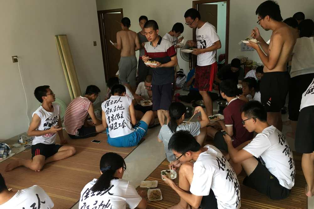Student activists and others supporting factory workers seeking to form a labour union are seen inside an apartment in Huizhou, near Shenzhen, Guangdong province, China August 23, 2018. — Reuters pic