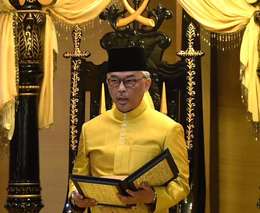 Sultan Abdullah Sultan Ahmad Shah is seen during his coronation at Istana Abu Bakar in Pekan January 15, 2019. — Bernama pic