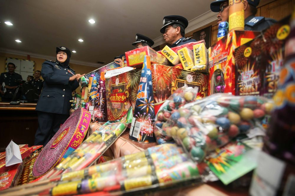 File picture of firecrackers seized by the Perak Royal Malaysian Customs Department. ― Picture by Farhan Najib
