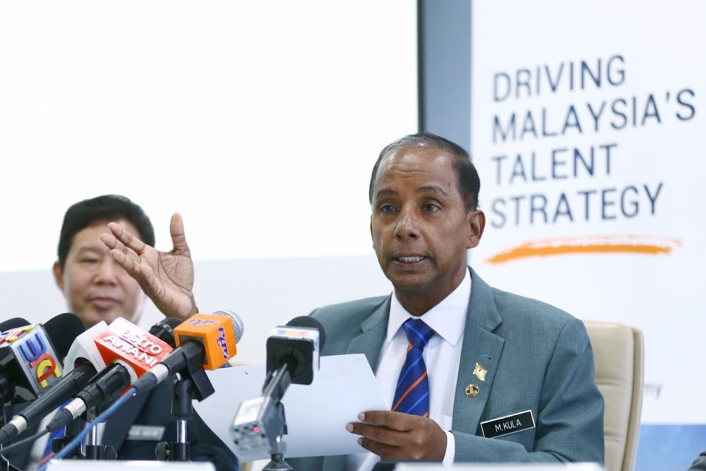 Human Resources Minister M. Kulasegaran speaks to reporters during a visit to TalentCorp's office in Kota Damansara January 23, 2019. — Picture by Ahmad Zamzahuri