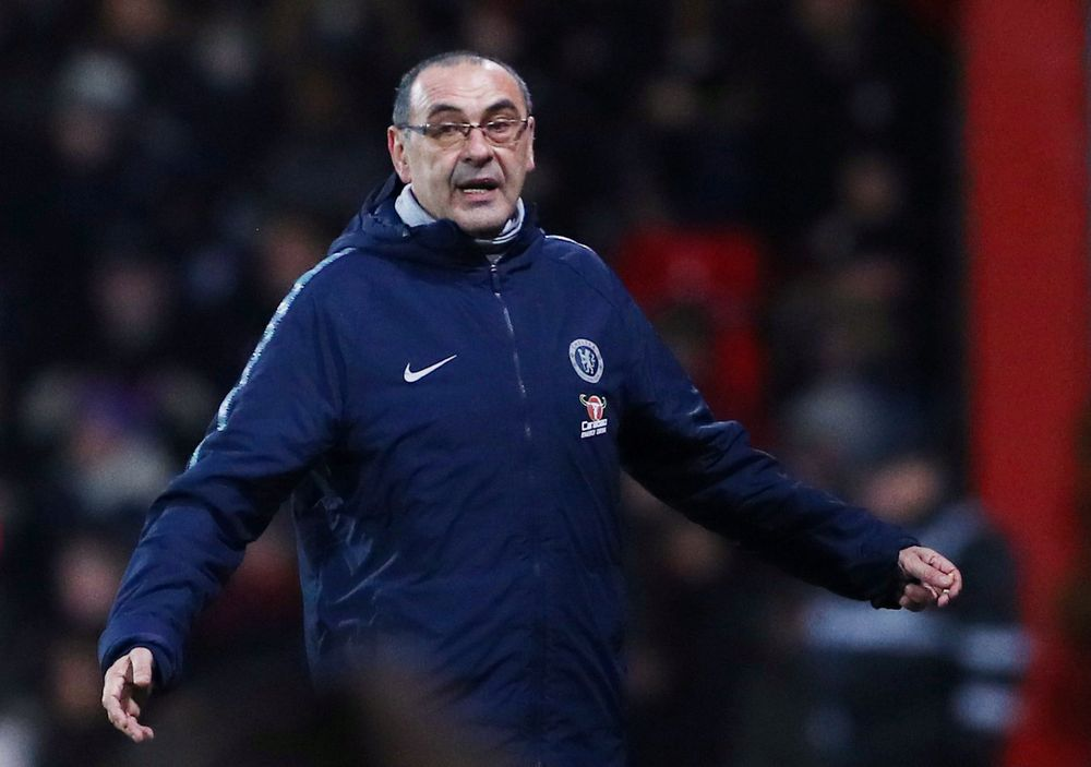 Maurizio Sarri has been an uncomfortable fit with fans at Stamford Bridge and despite winning the Europa League and finishing third in the Premier League, there is a perception the chain-smoking coach is unwilling to adapt tactics when things go wrong. — Reuters pic