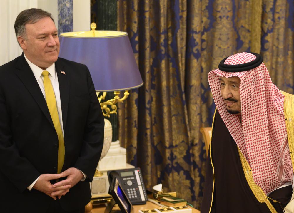 Saudi Arabia's King Salman bin Abdulaziz meets with US Secretary of State Mike Pompeo at the Royal Court in Riyadh on January 14, 2019. — AFP pic