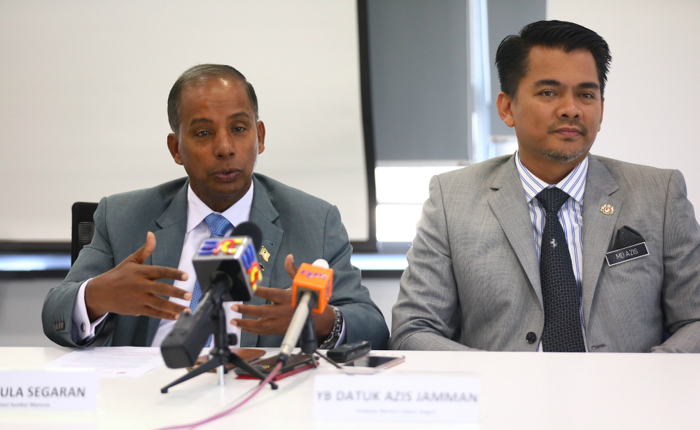 Human Resources Minister M. Kulasegaran with Deputy Home Minister Datuk Azis Jamman at the launch of the new Malaysia Expatriate Talent Service Centre (MYXpats Centre) in Petaling Jaya. — Picture courtesy of Talent Corporation Malaysia Berhad