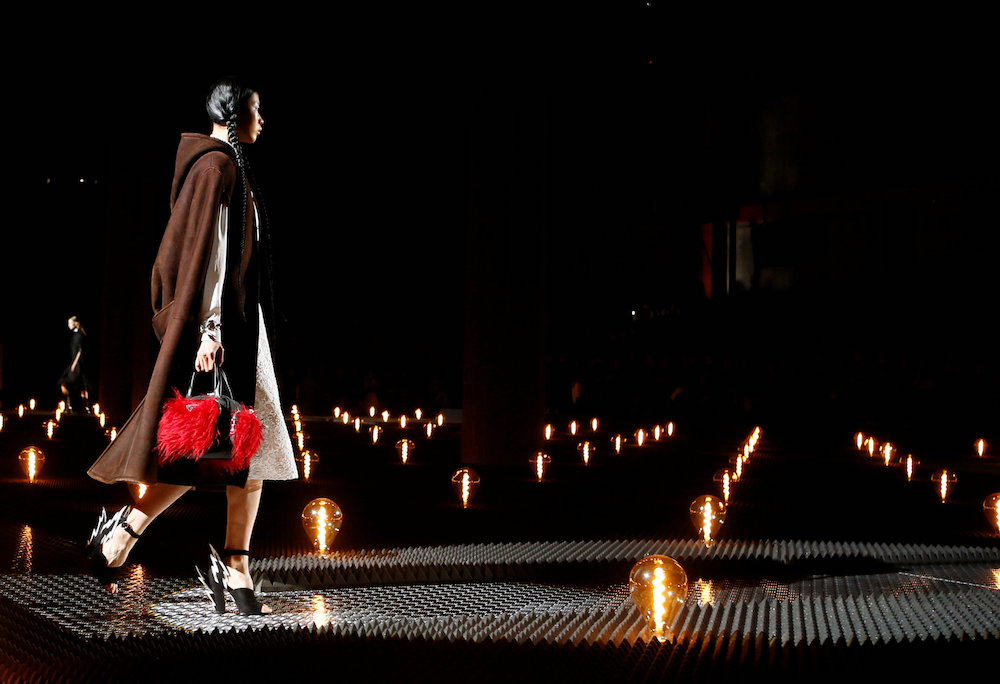 A model presents a creation by Prada during Milan Fashion Week February 21, 2019. — Reuters pic