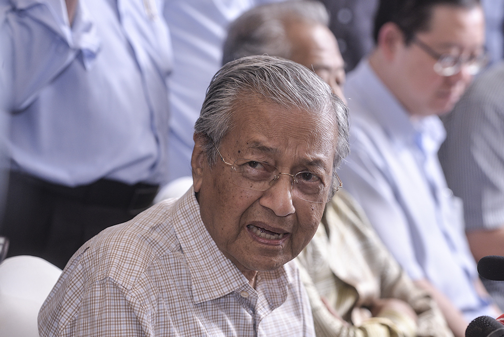 Dr Mahathir had appealed against the Kuala Lumpur High Court's ruling on November 16, 2017, which denied his leave applications for judicial review to challenge the appointment of the two top judges. — Picture by Shafwan Zaidon