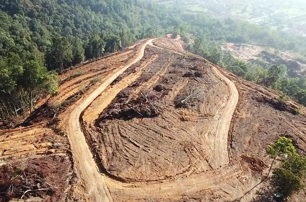 An aerial view showing the extent of the land clearing activities which has taken place on Kledang Hill. — Picture courtesy of Sahabat Alam Malaysia