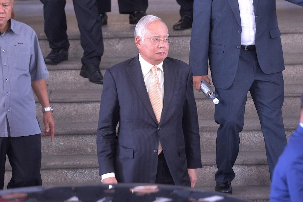 Datuk Seri Najib Razak leaves the Palace of Justice in Putrajaya February 7, 2019. — Picture by Shafwan Zaidon