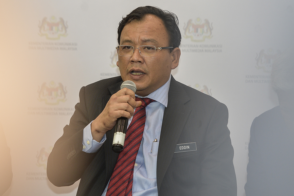 Deputy Communications and Multimedia Minister, Eddin Syazlee Shith, speaks after launching Safer Internet Day 2019 in Putrajaya February 13, 2019. — Picture by Miera Zulyana