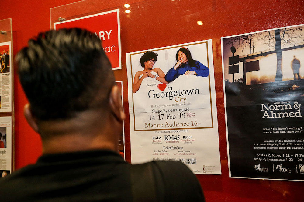 A poster for the play 'Love in Georgetown City', which previously called 'Sex in Georgetown City', is seen at Penangpac in George Town February 14, 2019. — Picture by Sayuti Zainudin