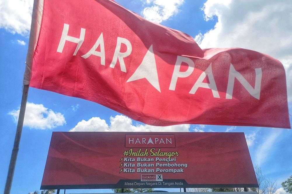 A Pakatan Harapan campaign billboard and flag are seen in Bandar Rinching, Semenyih February 27, 2019. — Picture by Shafwan Zaidon