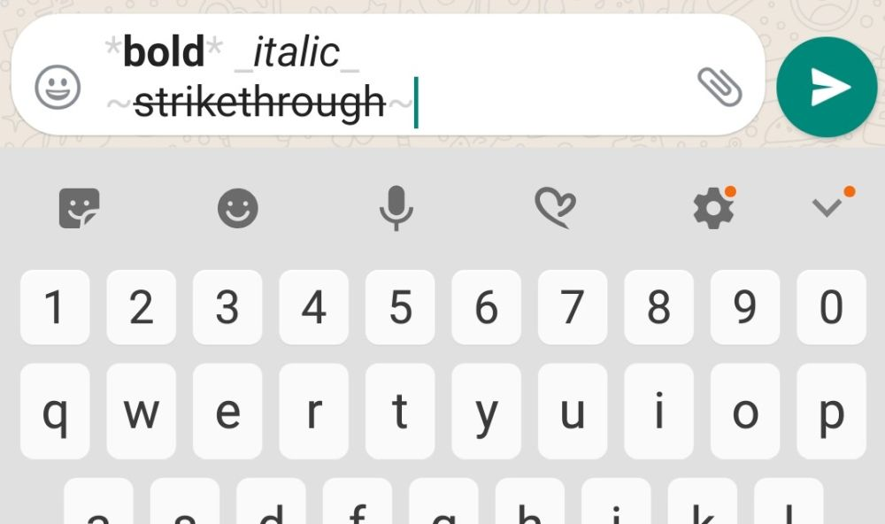 Give your words a dash of typohraphical emphasis using the asterisk, underscore and tildes signs. — Screengrab via WhatsApp