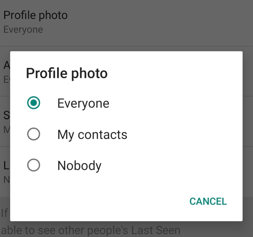 Select who can view your profile picture from the setting. — Screengrab via WhatsApp