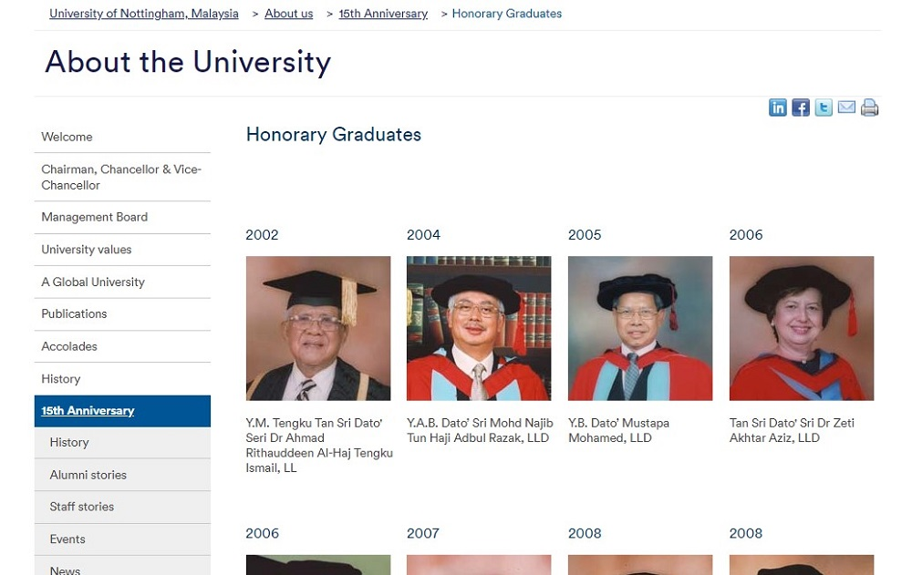 A screen capture of the University of Nottingham's Malaysia campus' website, February 2019.
