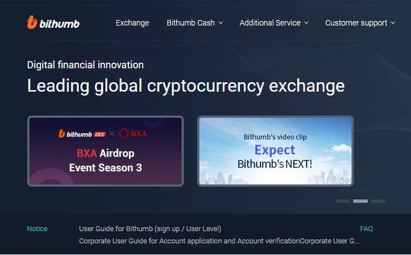 Screengrab of Korean crypto exchange Bithumb's website.