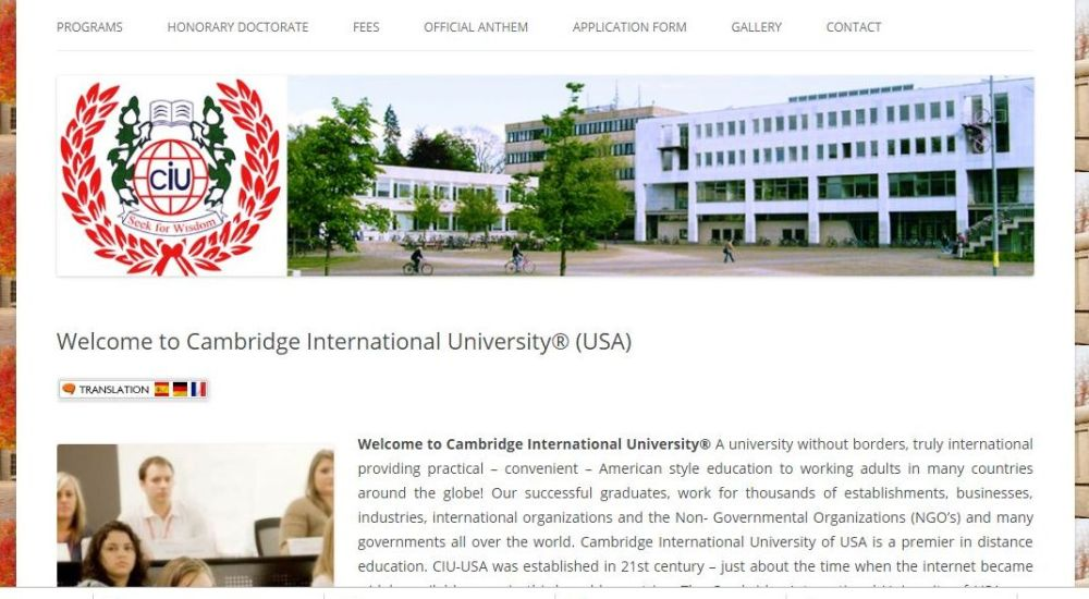 A screenshot of the Cambridge International University website.