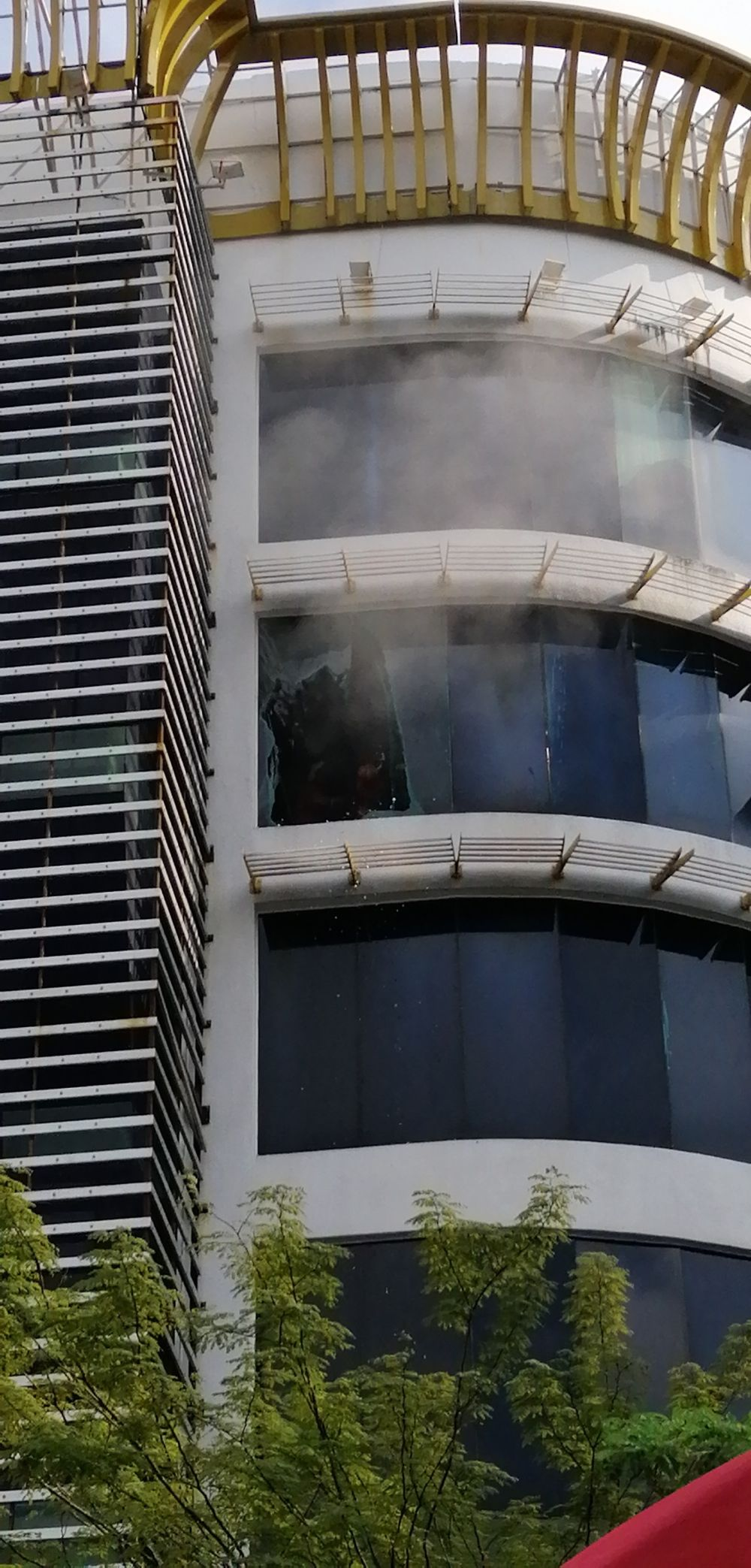 A fire engulfed an eight-storey entertainment outlet at Times Square Ipoh at Jalan Raja Dr Nazrin Shah here today. ― Picture courtesy of Fire and Rescue Department